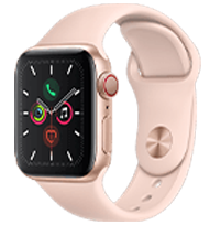 A front view of the Apple Watch Series 4 in Space Grey.