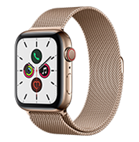 A side view of the Gold Stainless Steel Case with Milanese Loop.