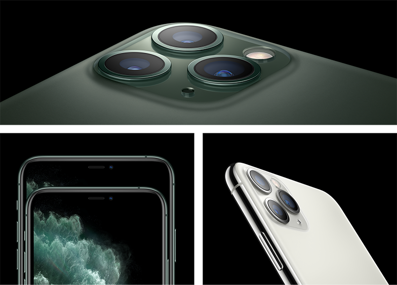 The iPhone 11 Pro has textured matte glass and a 6.5-inch Super Retina display.