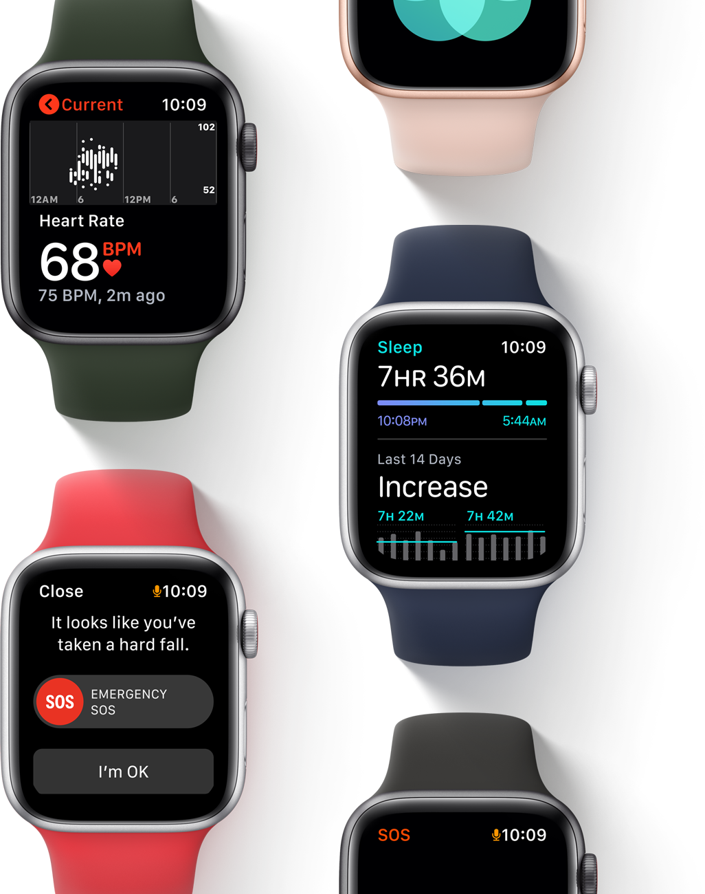 Monitor your heart rate, contact emergency response, and track your sleep with Apple Watch SE.