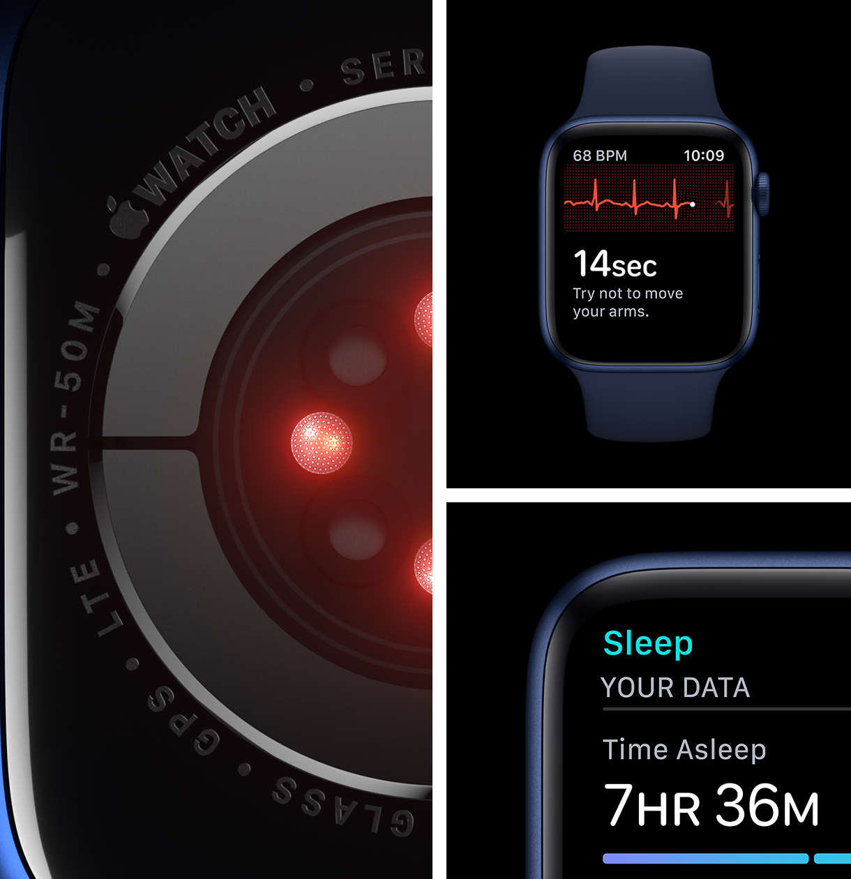The Apple Watch Series 6 helps you monitor your blood oxygen, ECG and sleep levels.