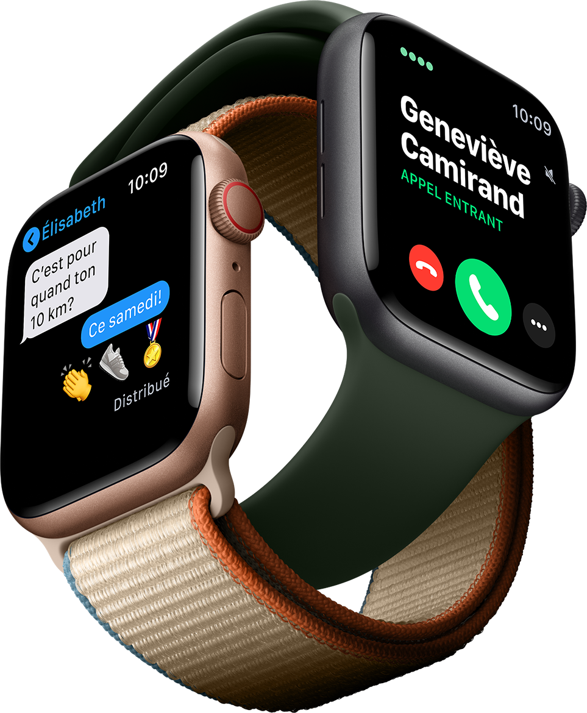 Répondez à vos appels, textez et écoutez de la musique en ligne partout où vous allez avec Apple Watch Series 6.