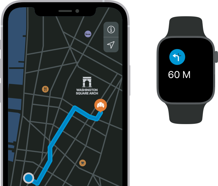 Make navigation and tracking your routes easier with Apple Watch and iPhone together.