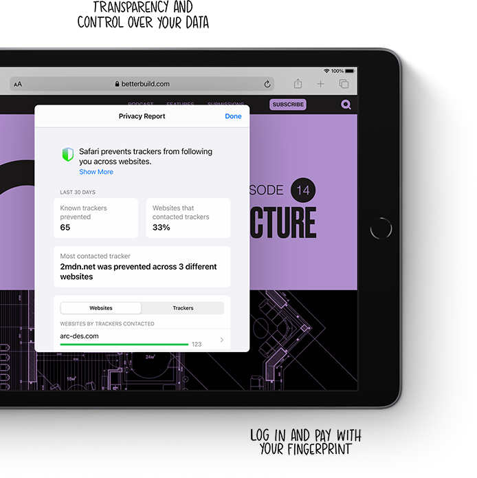 Apple's security protocols mean iPad has privacy built in.