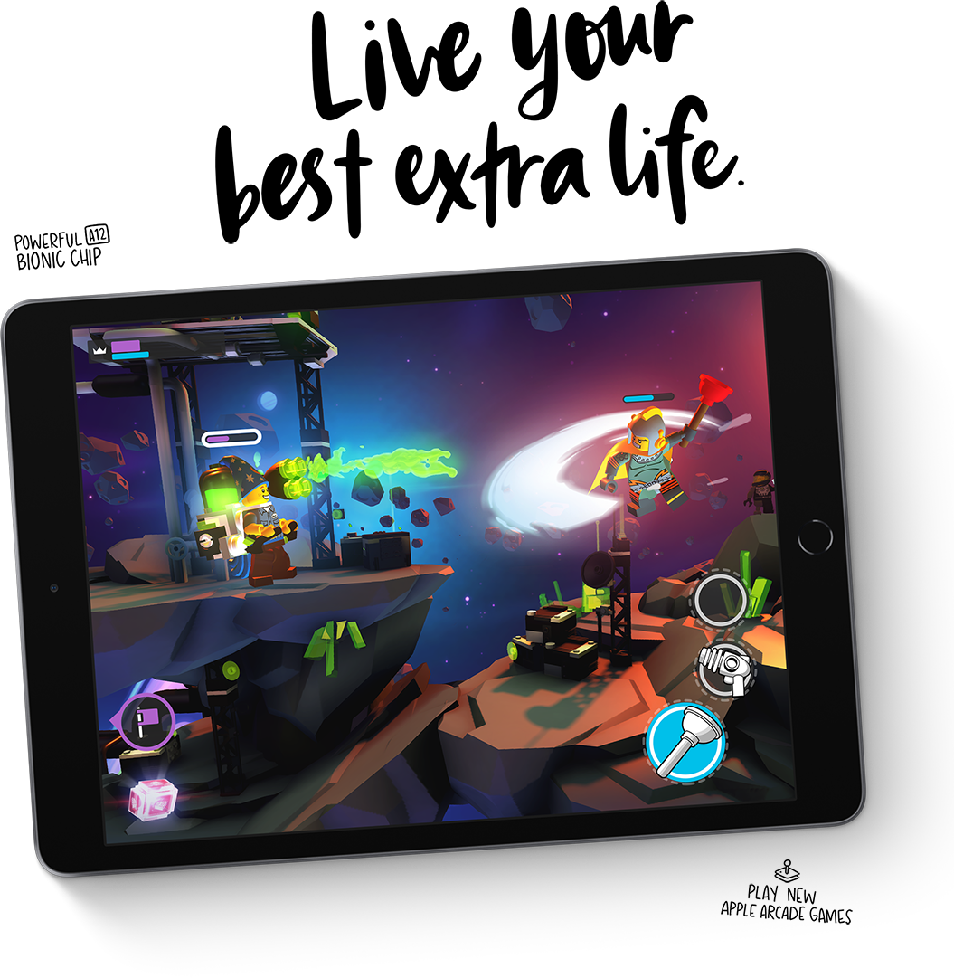 The iPad 8's new A12 Bionic chip makes gaming even better.