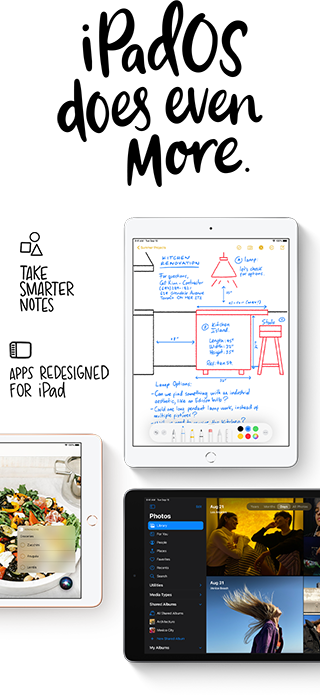 iPad 8 comes with iPadOS 14, including a better user interface and new apps like Scribble.
