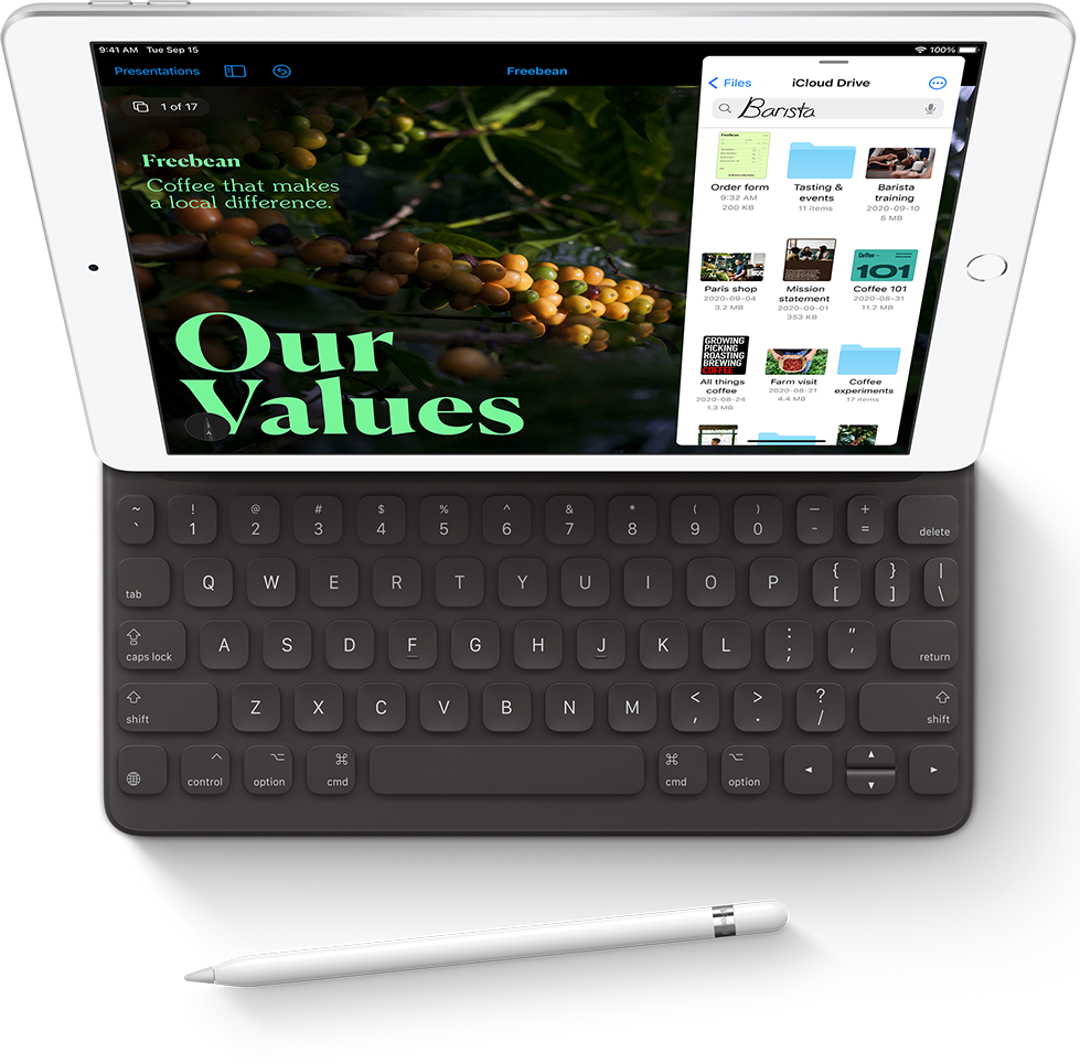 The Apple iPad 8 shown with connected keyboard from a top-down perspective.
