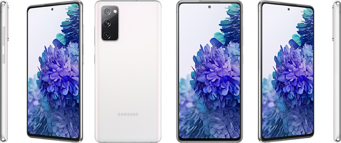 The front screen, back, and side views of the Samsung Galaxy A71.