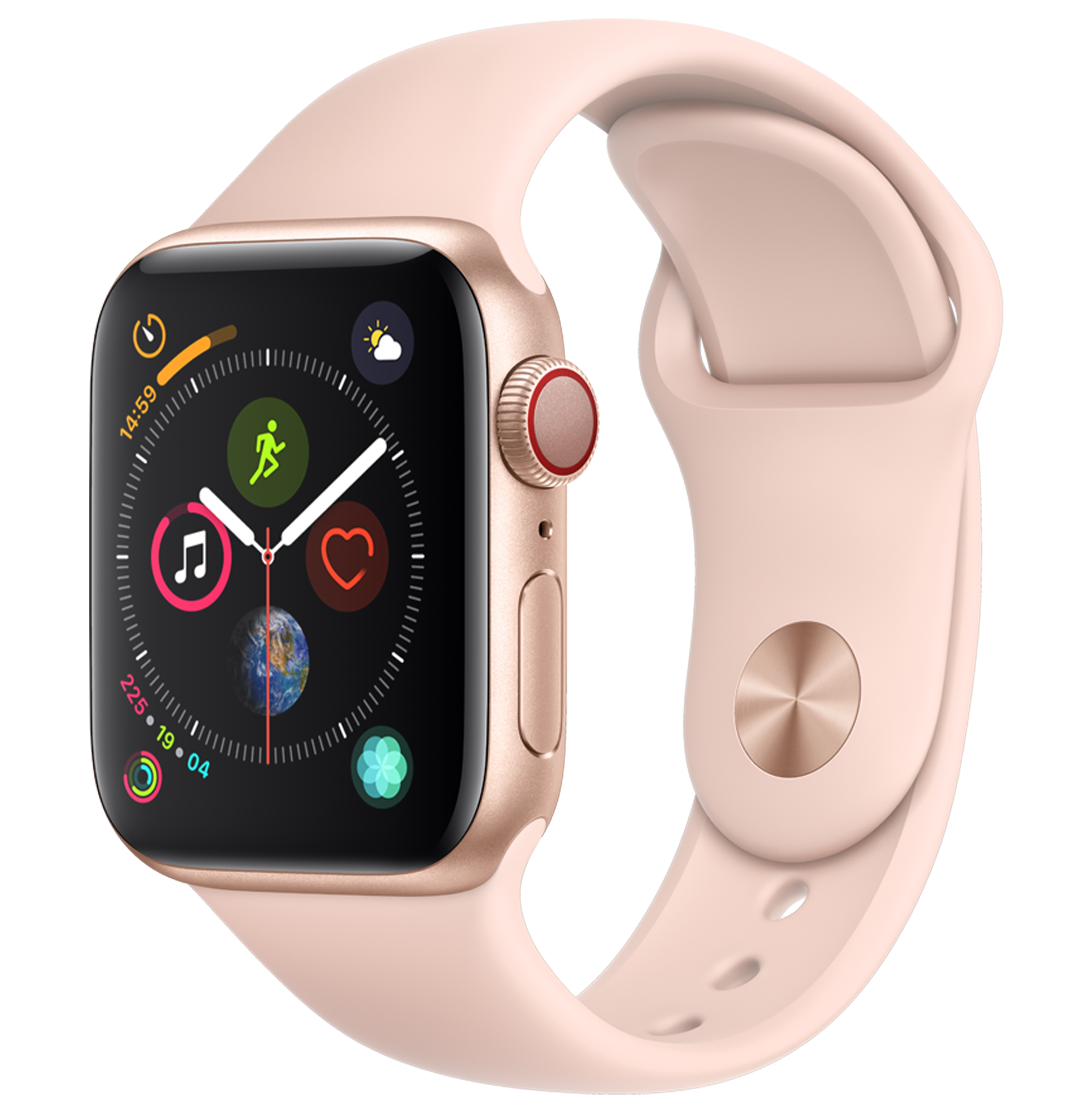 A front view of the Apple Watch Series 4 in Gold.