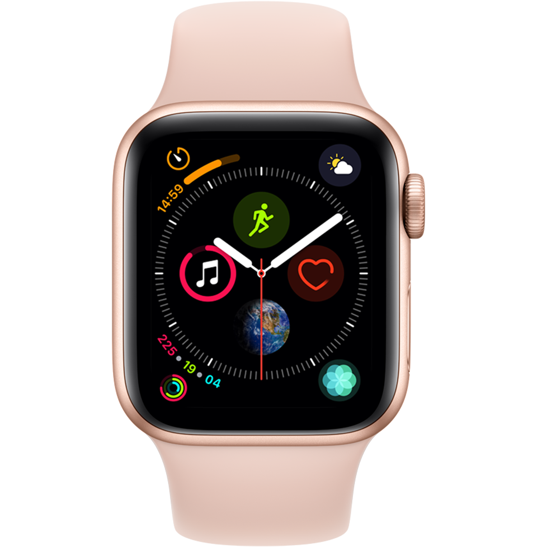 A side view of the Apple Watch Series 4 in Gold.