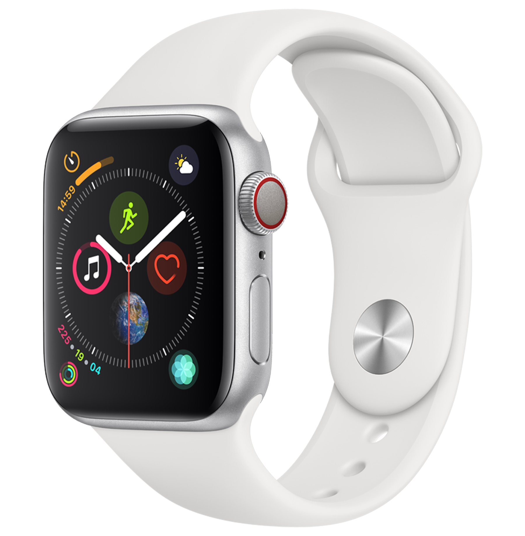 A front view of the Apple Watch Series 4 in Silver.