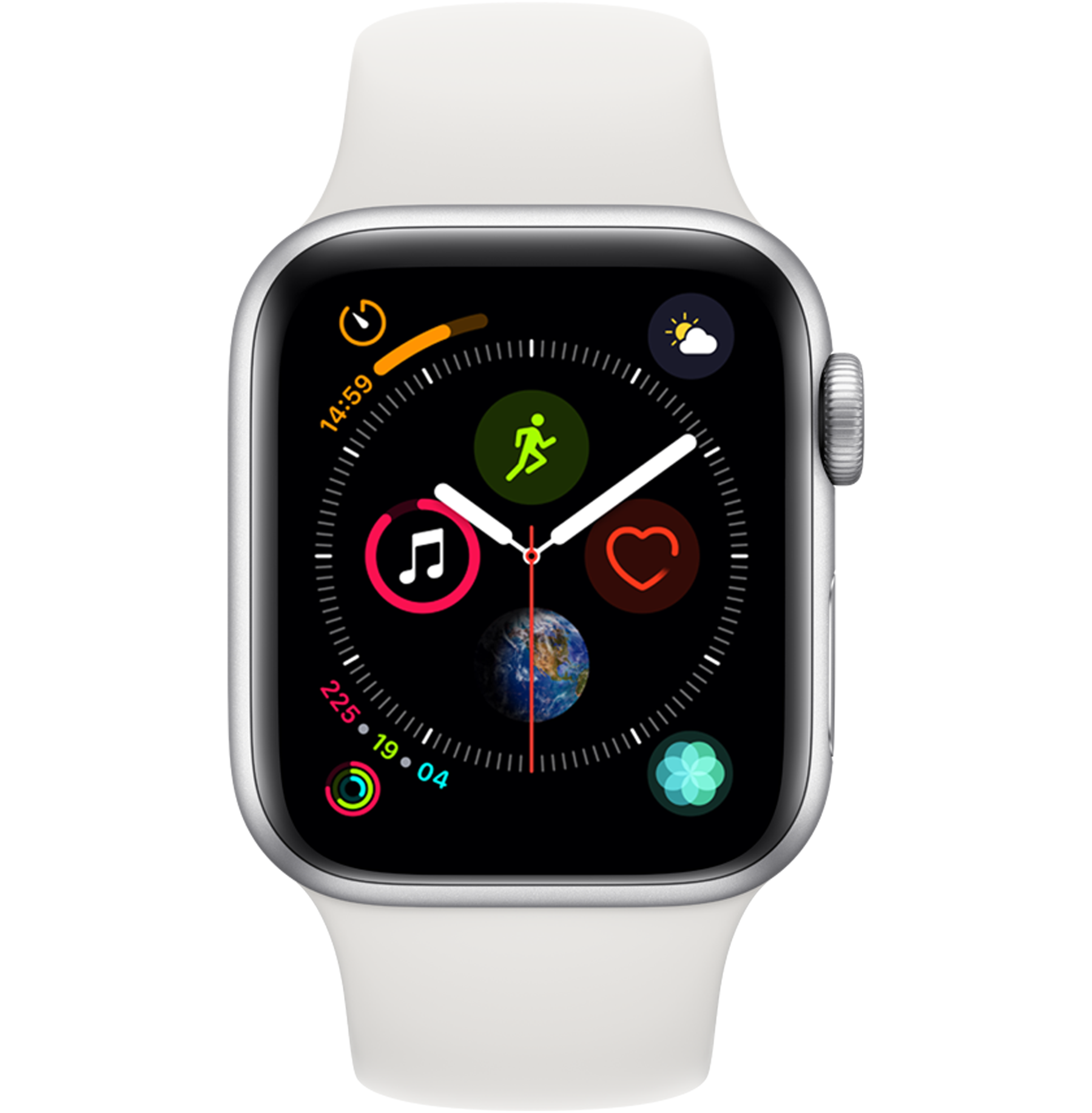 A side view of the Apple Watch Series 4 in Silver.