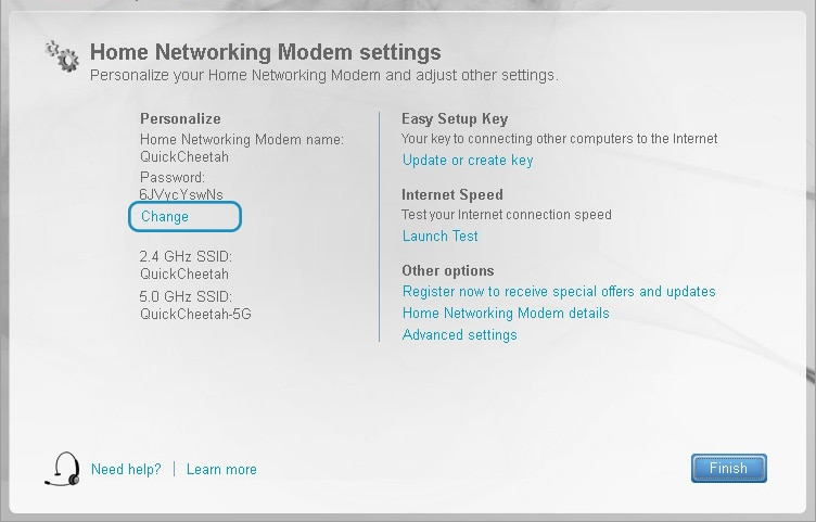setup your modem and wi fi rogers click change under the personalize column
