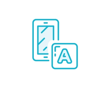 "Blue sketch of the letter ""A"" over a device"