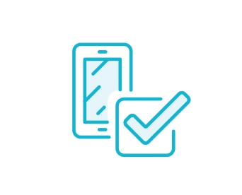 Blue sketch of a checkmark on a cell phone