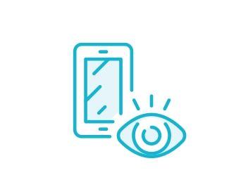 Blue sketch of an eye over a device