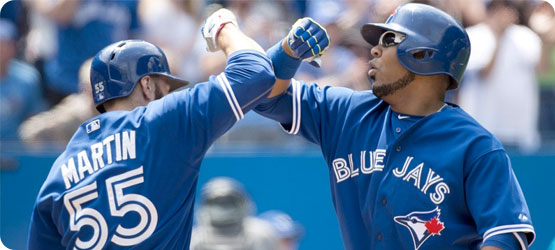 Blue Jays celebrate a play