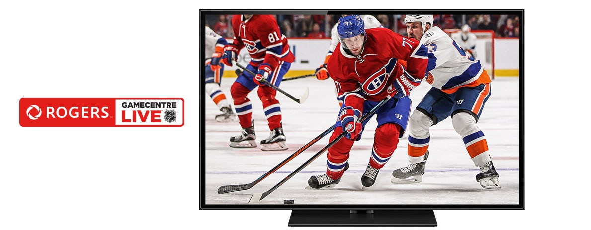 Image of hockey players on ice with Rogers NHL GameCentre Live logo across the screen.