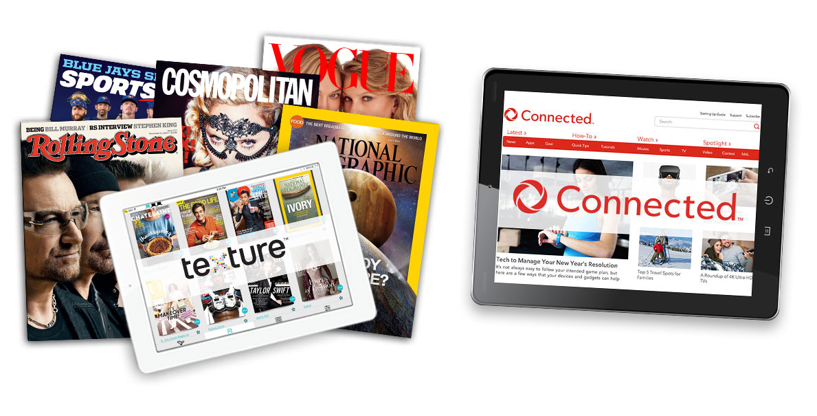 Variety of magazines with an iPad placed on top. The Next Issue™ logo is displayed on the tablet screen.  iPad with Rogers Connected homepage displayed on its screen.