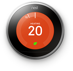 A Nest Thermostat connected to Rogers Smart Home Monitoring