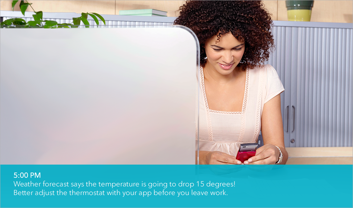 Weather forecast says the temperature is going to drop 15 degrees! Better adjust the thermostat with your app before you leave work.
