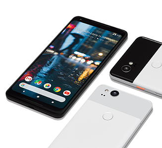 Google Pixel 2 in Clearly White, Just Black and Black and White