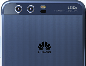 A blue Huawei P10 Plus displaying the new Leica Dual Camera 2.0 Pro Edition.