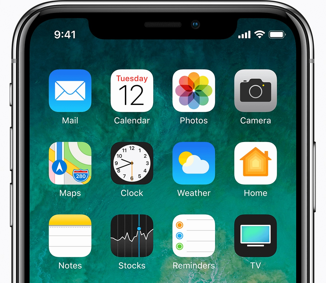 Close up of iPhone X with app icons on the home screen