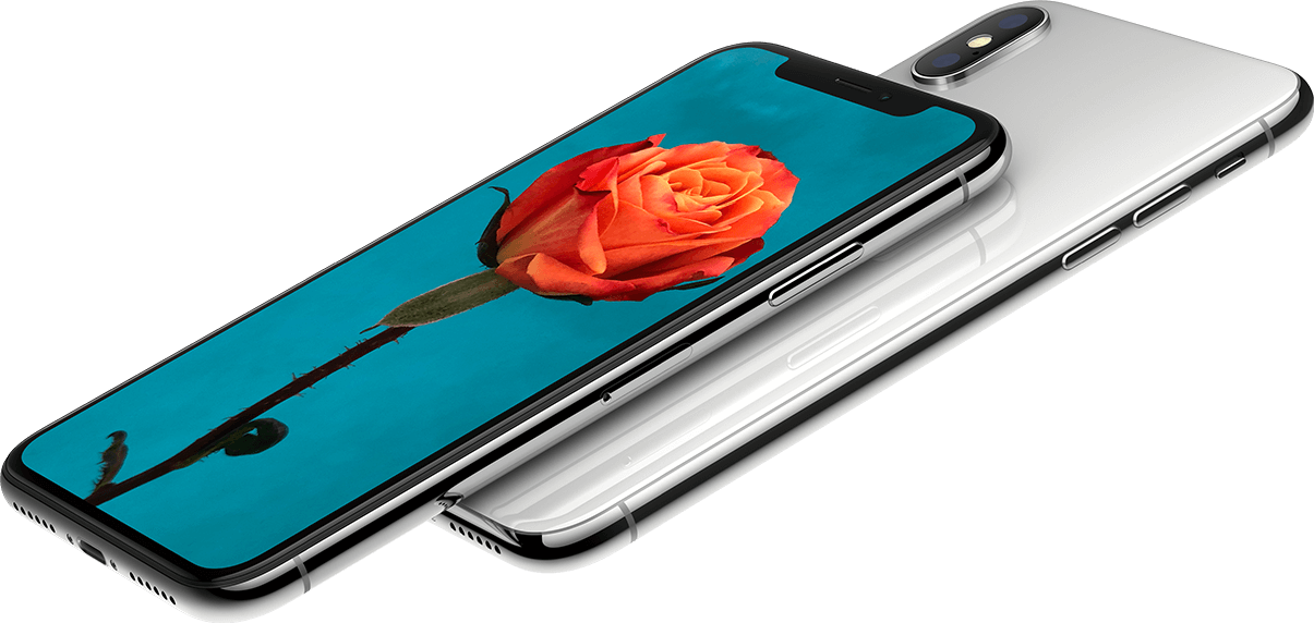 Two iPhone Xs, with one showing a picture of a flower