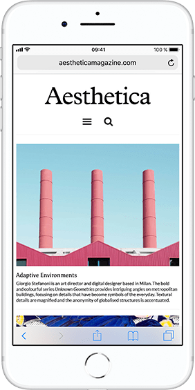 iPhone 8 displaying Aesthetica magazine