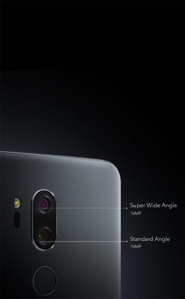 Close up of the 16MP Super Wide Angle and Standard Angle camera lenses.