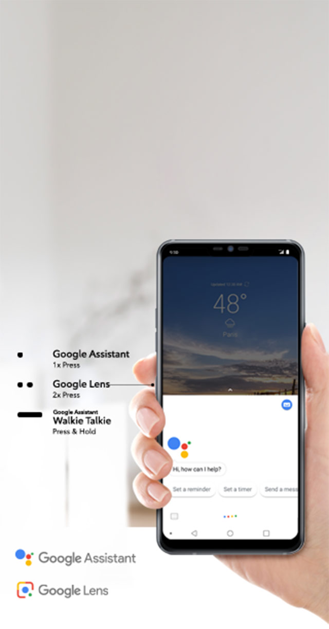 Google Assistant (1x Press), Google Lens (2x Press), and Google Assistant Walkie Talkie (Press &Hold).