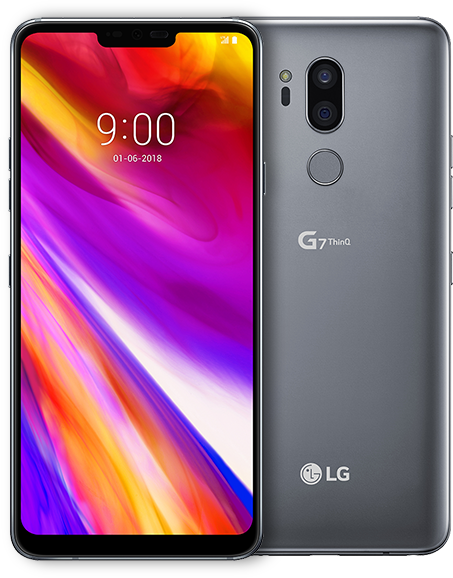 Two LG G7ThinQ phones, available in Aurora Black and Platinum Grey.