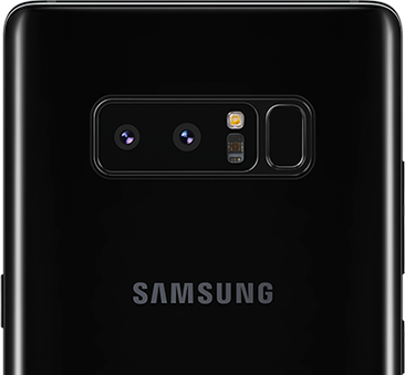 Samsung Galaxy Note8 rear view showing dual cameras
