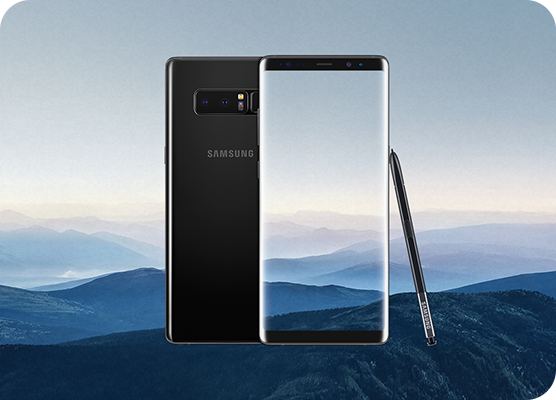 Samsung Galaxy Note8 front and rear view with Intelligent S-Pen