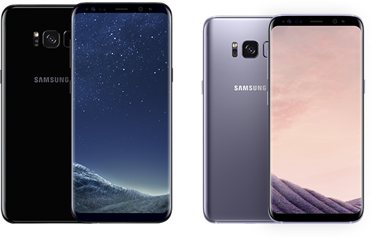 two Samsung Galaxy S8 front and rear views