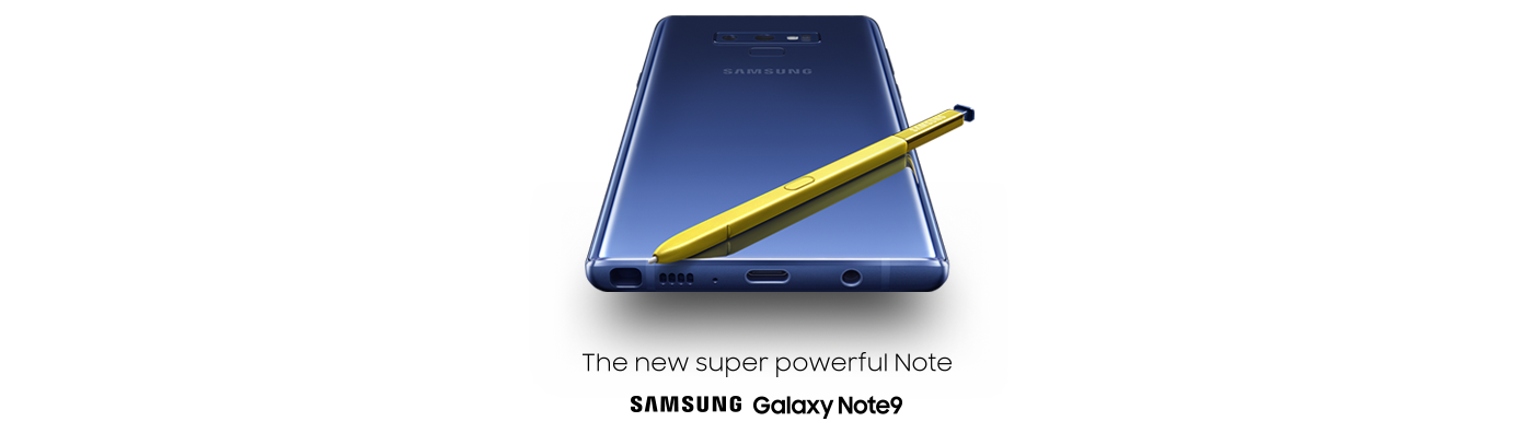 Samsung Galaxy Note9, S Pen, and Gear IconX cord-free earbuds.